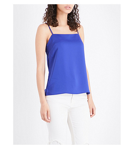 WAREHOUSE Square-neck crepe camisole (Blue