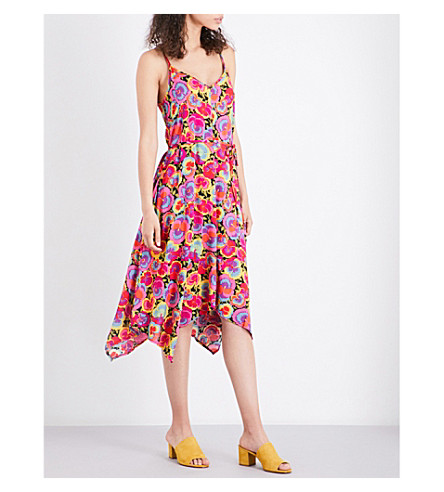 WAREHOUSE Pansy Pop hanky-hem woven dress (None