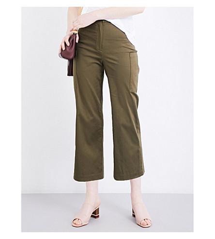 WAREHOUSE Wide-leg cropped stretch-cotton pants (Khaki