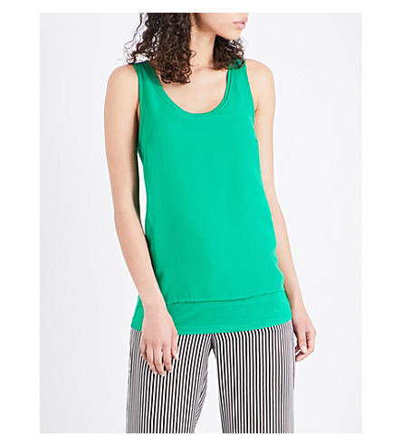WAREHOUSE Chiffon-panel jersey vest (Green