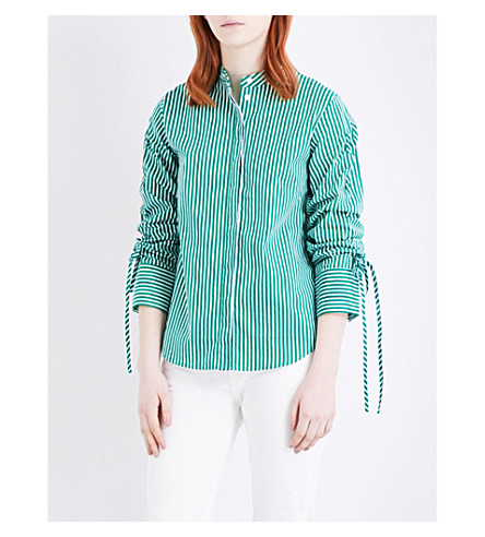 WAREHOUSE Ruched-sleeve cotton-poplin shirt (Green