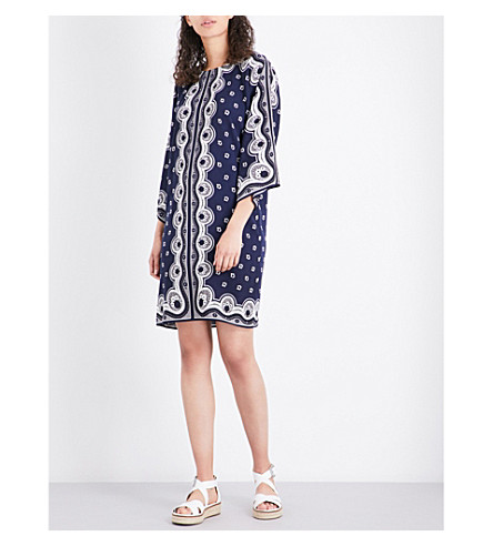 WAREHOUSE Bandana-print crepe dress (Navy
