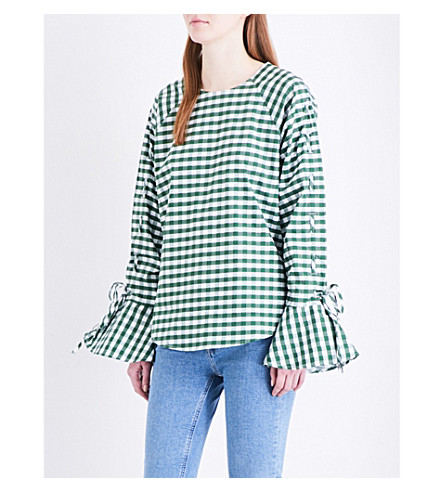 WAREHOUSE Gingham cotton top (Dark+green