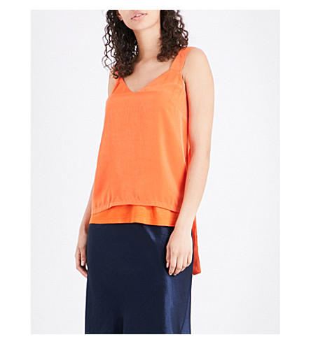 WAREHOUSE Satin-front jersey top (Bright+orange