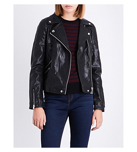 WAREHOUSE Faux-leather biker jacket (Black