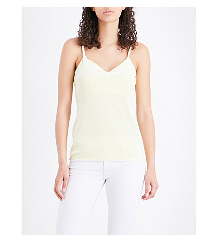 WAREHOUSE Crushed velvet camisole (Pale+yellow