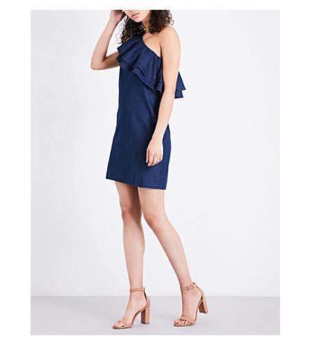 WAREHOUSE Ruffled one-shoulder cotton dress (Blue