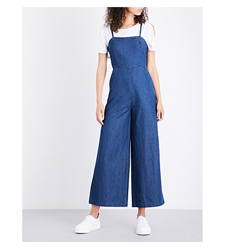 WAREHOUSE Wide-leg chambray jumpsuit (Blue