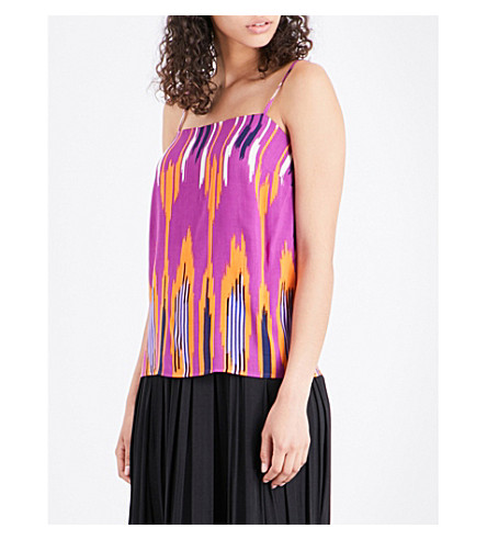 WAREHOUSE Rainbow Ikat jersey camisole (Bright+pink