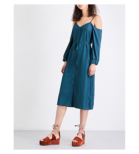 WAREHOUSE Cold-shoulder poplin dress (Dark+green