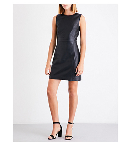 WAREHOUSE A-line faux-leather dress (Black