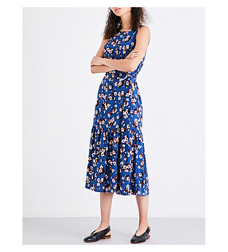WAREHOUSE Mae crepe midi dress (Blue