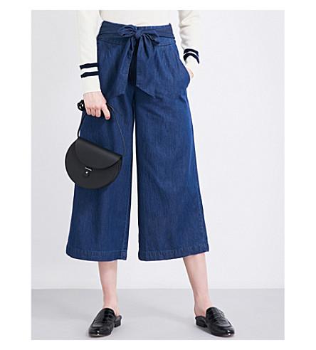 WAREHOUSE Tie-front denim culotte (Blue