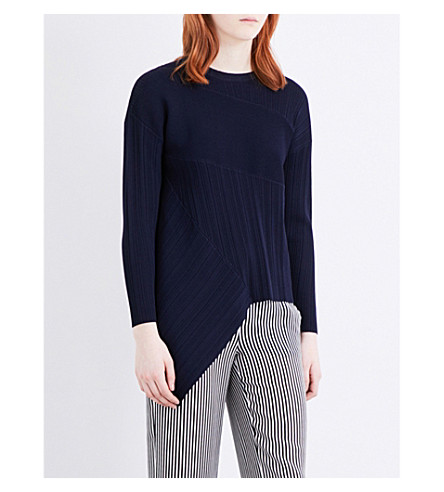 WAREHOUSE Asymmetric knitted jumper (Navy