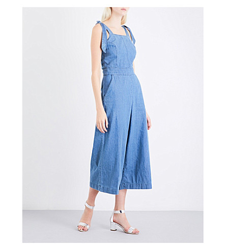 WAREHOUSE Tie-shoulder denim jumpsuit (Blue