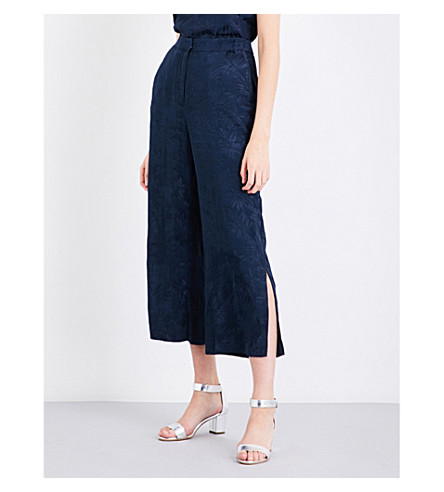 WAREHOUSE Leaf jacquard culottes (Navy