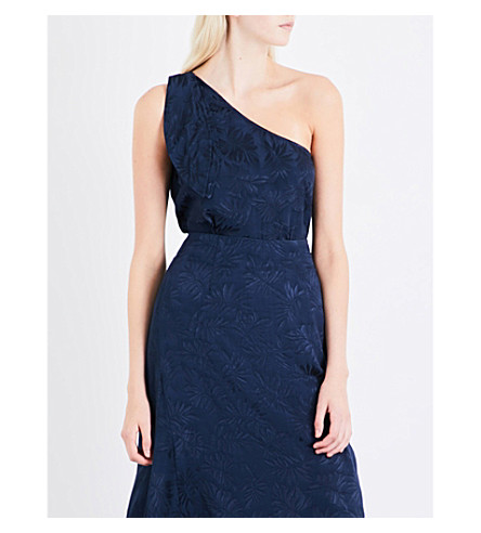 WAREHOUSE Leaf one-shoulder jacquard top (Navy