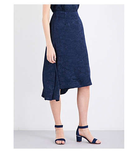 WAREHOUSE Leaf high-rise jacquard skirt (Navy