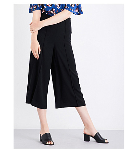 WAREHOUSE Pintuck gabardine culottes (Black