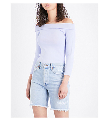 WAREHOUSE Off-the-shoulder woven jumper (Plum
