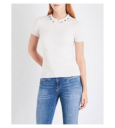 WAREHOUSE Embellished collar knitted top (Cream