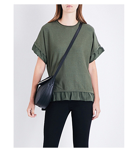 WAREHOUSE Ruffled knitted top (Khaki