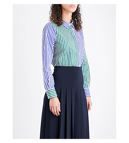WAREHOUSE Mixed stripe cotton shirt (Blue
