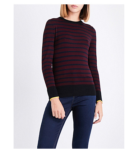 WAREHOUSE Breton-stripe knitted jumper (Pink