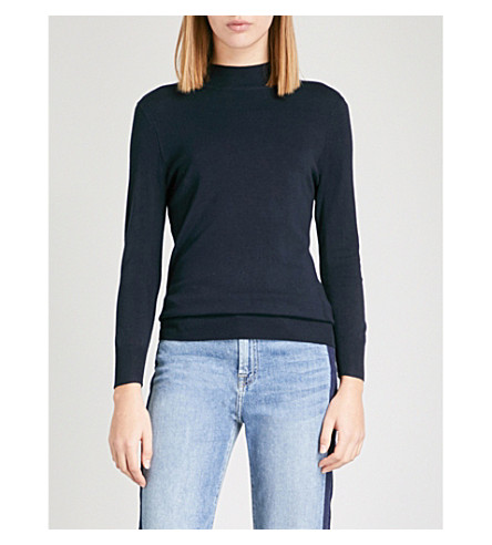 WAREHOUSE Funnel-neck knitted jumper (Navy