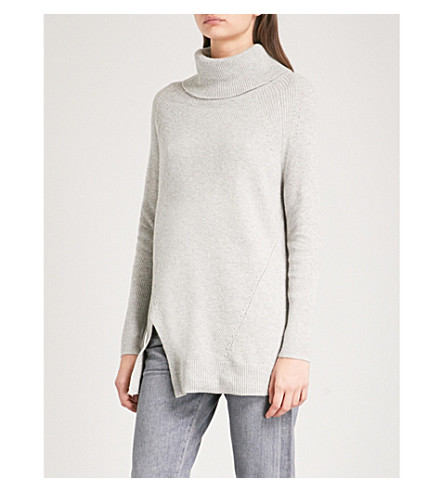 WAREHOUSE Stitchy cowl-neck knitted jumper (Grey