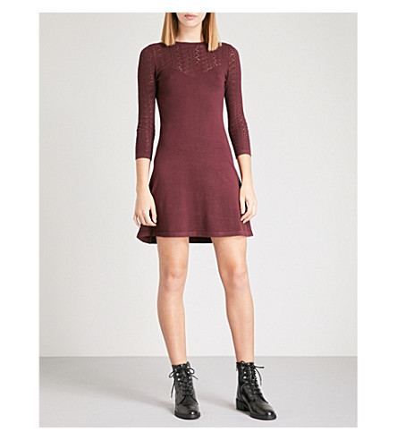 WAREHOUSE Pretty stitch-yoke knitted dress (Pink