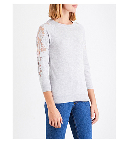 WAREHOUSE Floral lace-insert knitted jumper (Grey