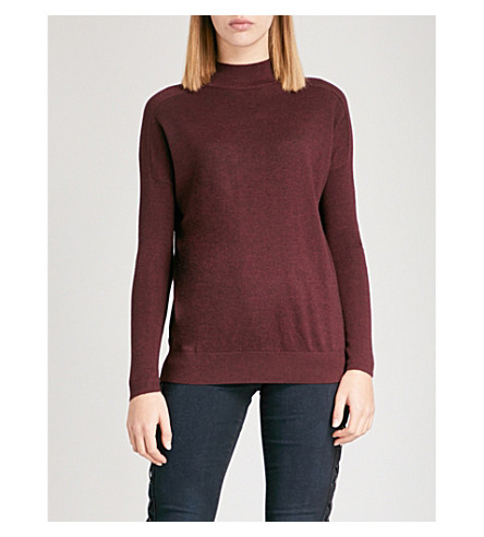 WAREHOUSE Boxy funnel-neck knitted jumper (Pink