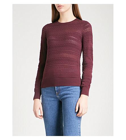 WAREHOUSE Floral-knit jumper (Pink