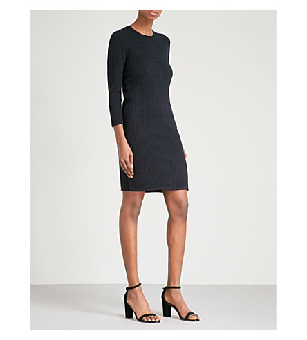 WAREHOUSE Textured knitted dress (Navy