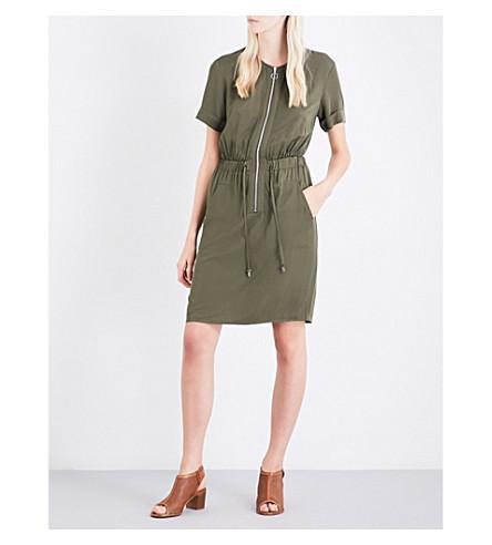 WAREHOUSE Zip-detail poplin dress (Khaki
