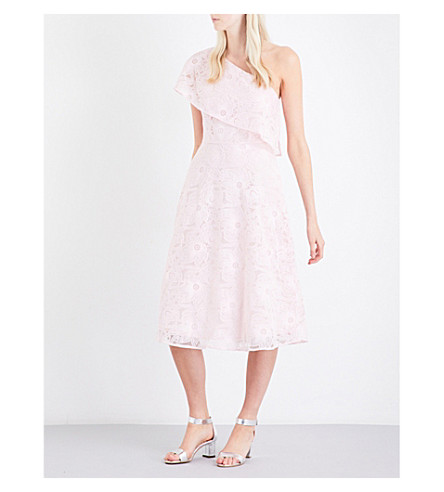 WAREHOUSE One-shoulder lace dress (Pale+pink