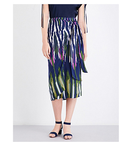 WAREHOUSE Rainbow ikat-print poplin skirt (Navy