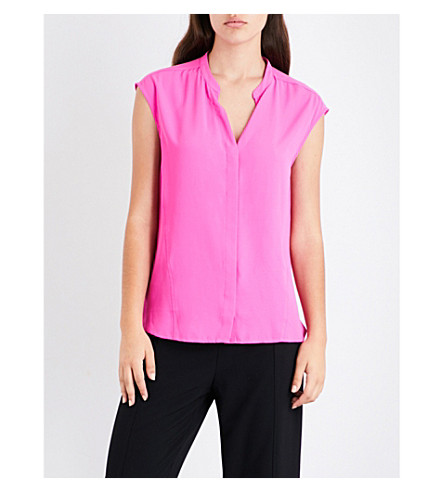 WAREHOUSE Open-back crepe blouse (Bright+pink