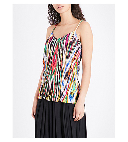 WAREHOUSE Rainbow crinkled jersey camisole (None