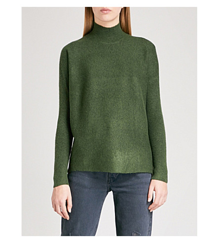 WAREHOUSE Boxy funnel-neck knitted jumper (Dark+green