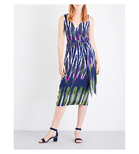 WAREHOUSE Rainbow ikat-print poplin dress (Navy