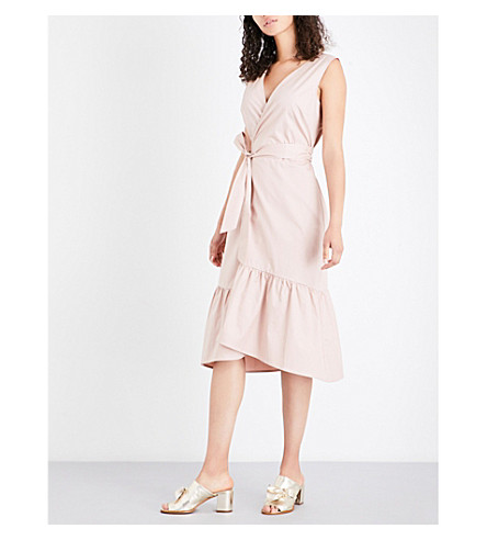 WAREHOUSE Peplum cotton wrap dress (Pale+pink