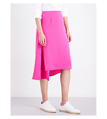 WAREHOUSE Asymmetric crepe skirt (Bright+pink