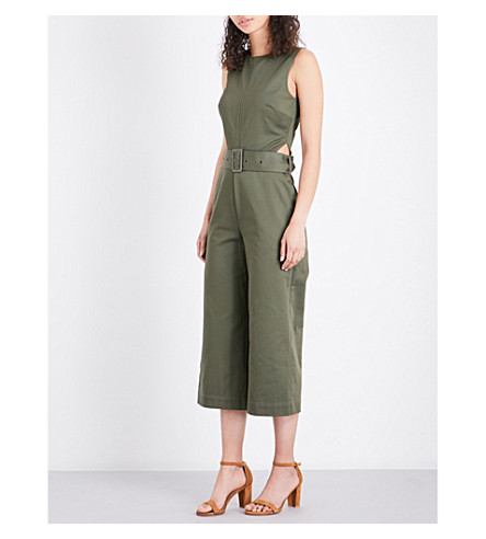 WAREHOUSE Wide-leg cotton jumpsuit (Khaki