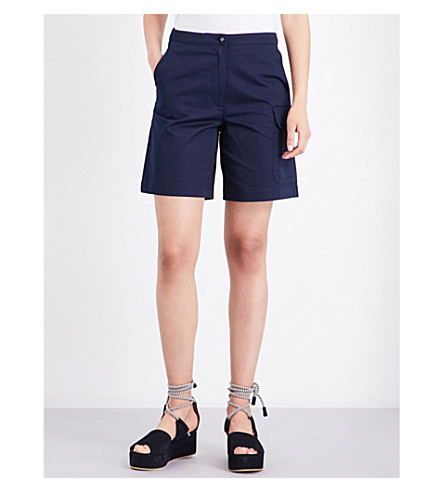 WAREHOUSE High-rise cotton shorts (Navy
