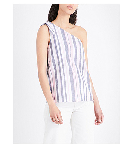 WAREHOUSE One-shoulder cotton top (Pink