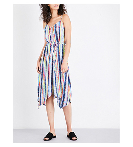 WAREHOUSE Dash Stripe-print stretch-crepe dress (Blue