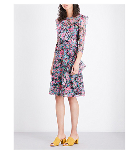 WAREHOUSE Flower burst mesh dress (None