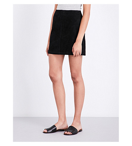 WAREHOUSE Suede mini skirt (Black